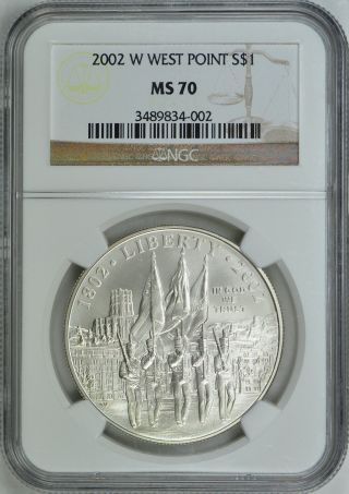 2002 - W West Point Silver S$1 Ngc Ms70 photo
