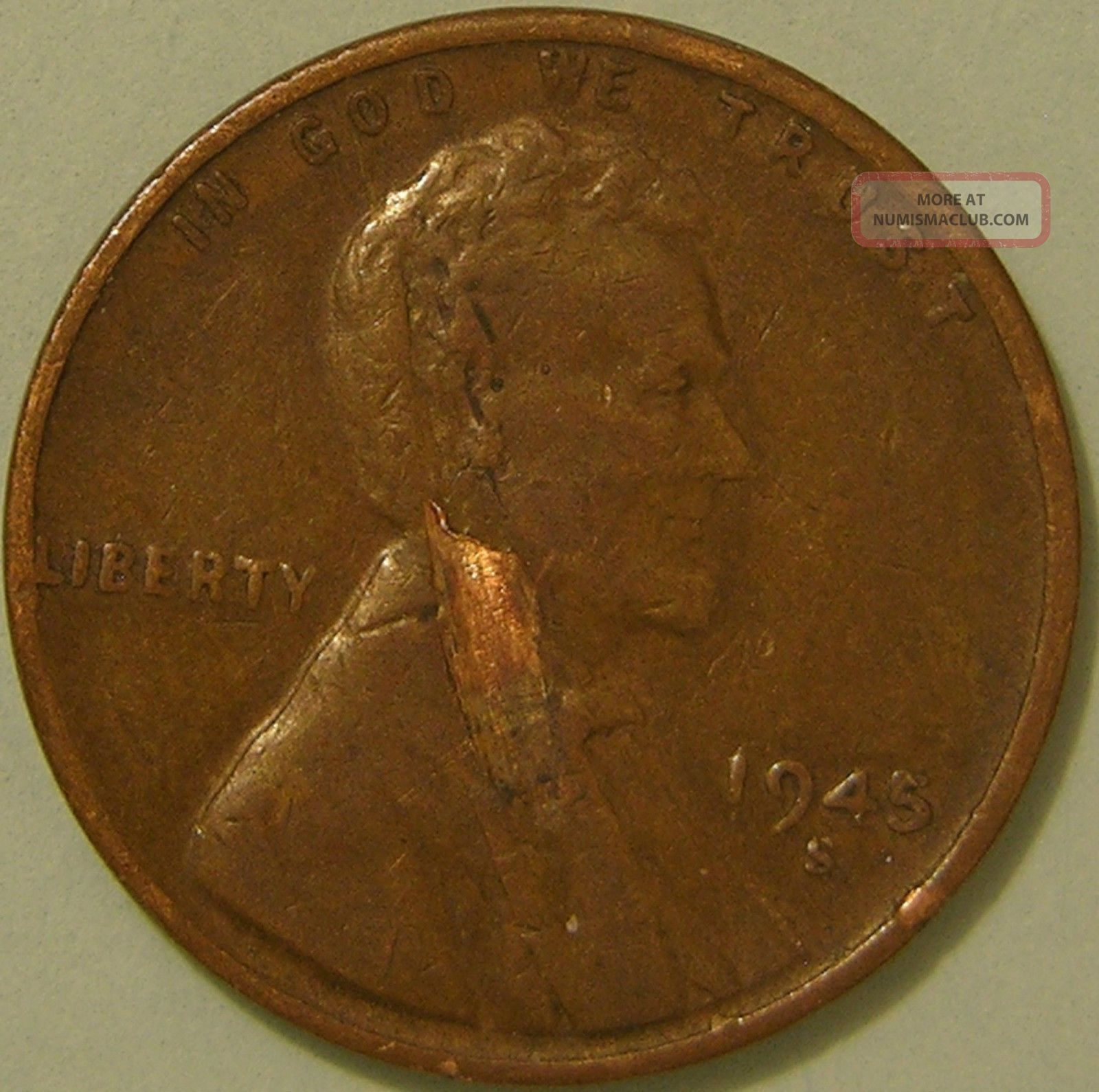 1945 S Lincoln Wheat Penny Lamination Error Coin Ae 889