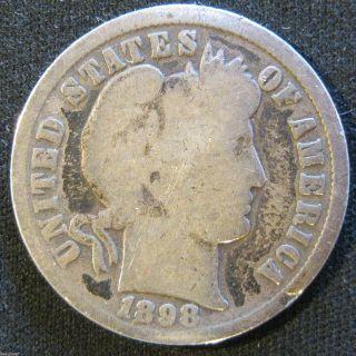 1898 - P Barber Dime Solid Major Details 9 photo