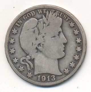 1913 Barber Silver Half Dollar - Semi Key Date - Circulated photo