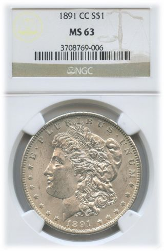 1891 - Cc Morgan Dollar Ms 63 | Ngc Graded photo