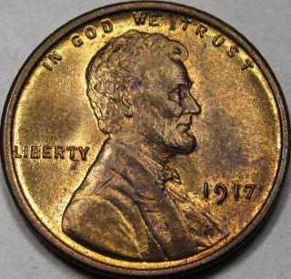1917 Lincoln Cent Gem Bu++ Red - Brown Coin Neat Coin photo