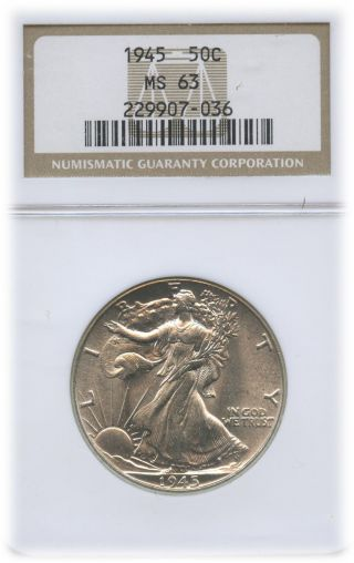 1945 Walking Liberty Half Dollar Ms 63 | Ngc Graded photo