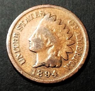 1894 Indian Head Penny,  Good Detail photo