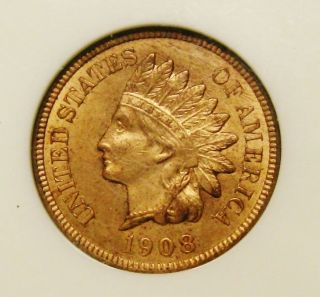 Stunning Full Red 1908 S Indian Head Cent Graded Ms64 Red By Ngc Rare This photo