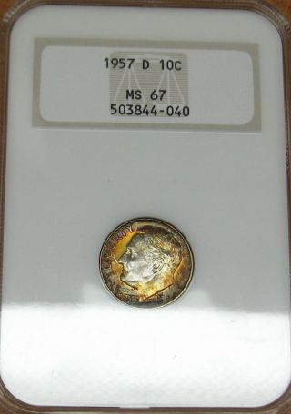 1957 D Roosevelt Dime Ngc - Ms 67 photo
