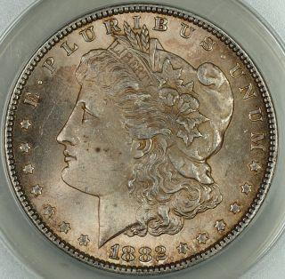 1882 Morgan Silver Dollar Coin $1,  Anacs Ms - 63,  Toned photo
