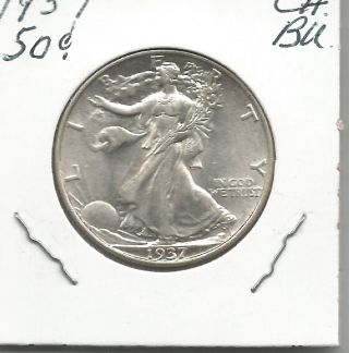 1937 Silver Walking Liberty Half Dollar - Choice Bu/uncirculated Brand Usa photo