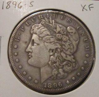 1896 - S Morgan Silver Dollar Xf Rare Key Date Us Silver Coin photo