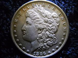 1896 - P Morgan Silver Dollar - Vf/au - Stunning Coin photo