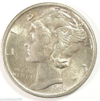 1943 - S Mercury Dime; Higher Grade Coin; Later Date; Silver photo