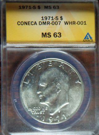 1971 - S Eisenhower Silver Dollar Anacs Ms63 Coneca Dmr - 007 Whr - 001 Ddr Error photo
