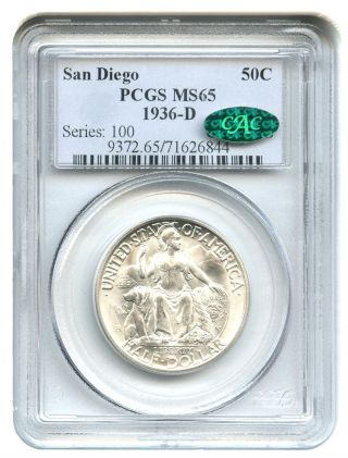 1936 - D San Diego 50c Pcgs/cac Ms65 Silver Classic Commemorative photo