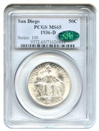 1936 - D San Diego 50c Pcgs/cac Ms65 Silver Classic Commemorative photo