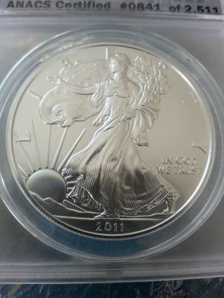 2011 Silver Eagle First Release Sf Anacs Ms70 photo