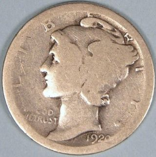 1920 Silver Mercury Dime,  Mer 10 photo