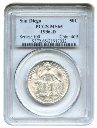 1936 - D San Diego 50c Pcgs Ms65 Silver Classic Commemorative photo