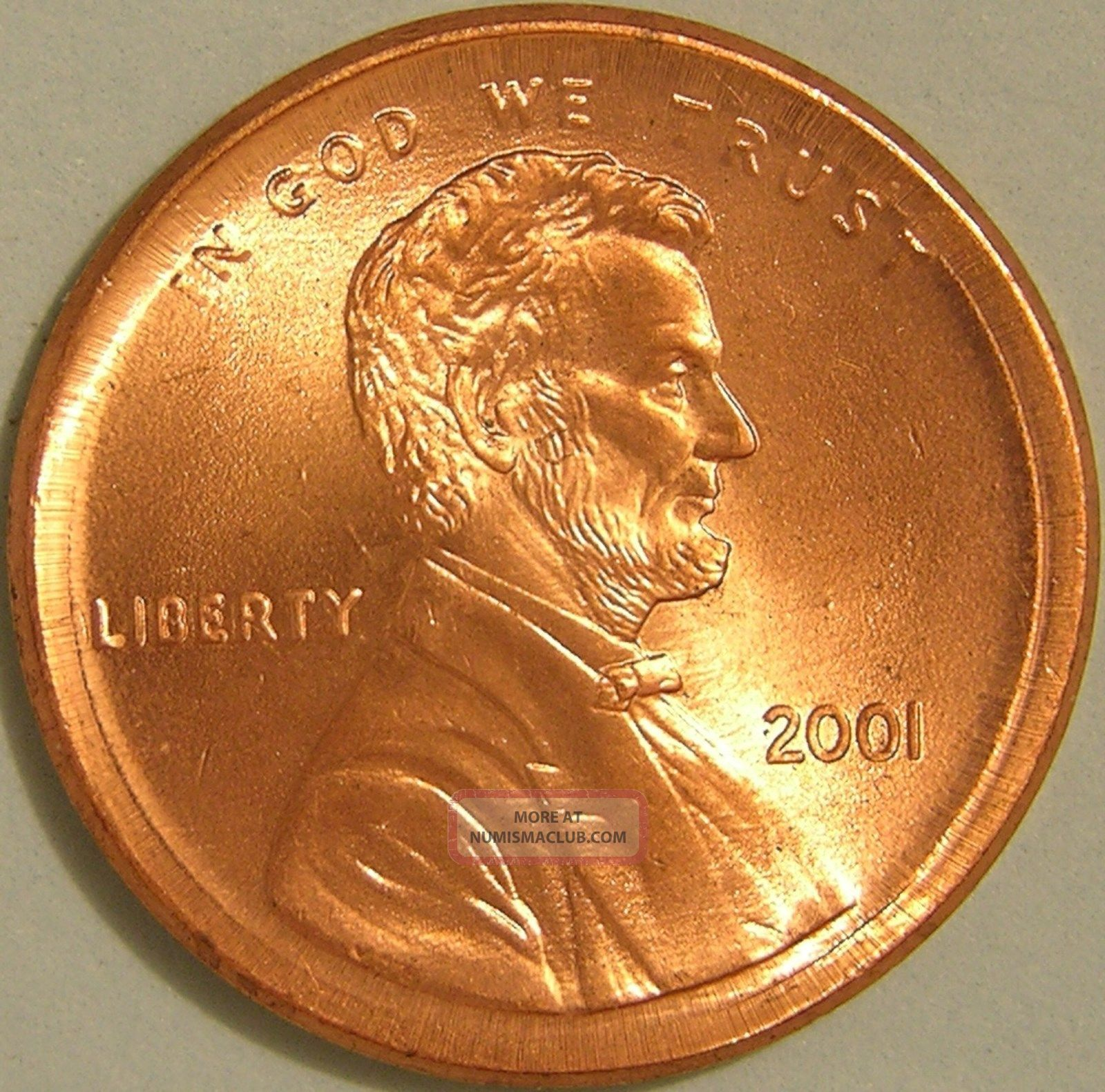 2001 P Lincoln Memorial Penny Broadstruck Error Coin