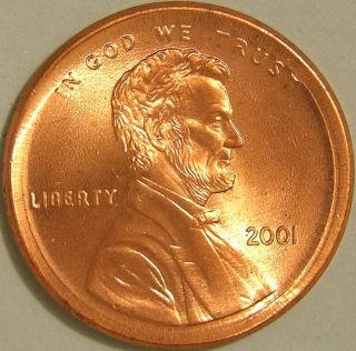 2001 P Lincoln Memorial Penny,  (broadstruck) Error Coin,  Af 150 photo