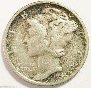 1943 - S Mercury Dime; Collector ' S Coin; Silver; Pretty Rim Toning photo