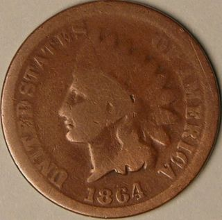 1864 Indian Head Penny,  Aa - 563 photo