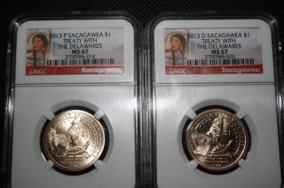 21013 - P And 2013 - D,  Ms 67,  Sacagawea $1,  Treaty With The Delawares photo