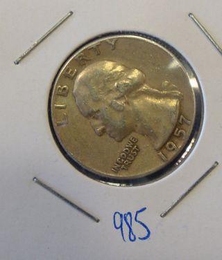 1957 P Washington Silver Quarter photo