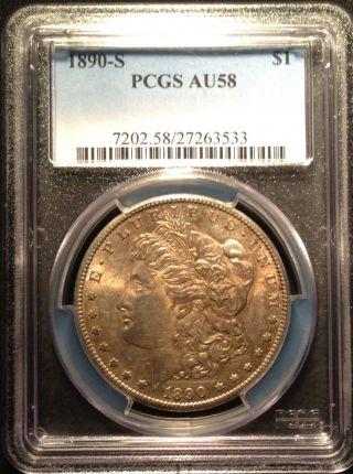 1890 - S Morgan Silver Dollar Pcgs Au58    27263533 photo