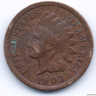 1 Cent 1903 Indian Head Penny Liberty Head Ef,  Features And Details photo