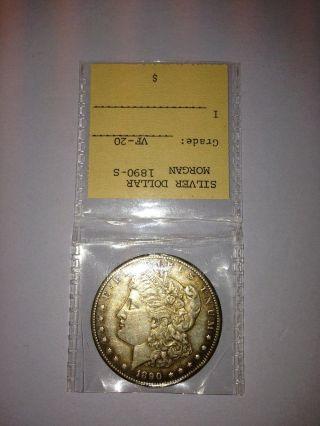 1890 - S Morgan Silver Dollar San Francisco - photo