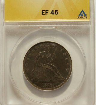 1870 - S Seated Liberty Half Anacs Xf - 45 (rarity Rates With The 1874 - Cc) photo