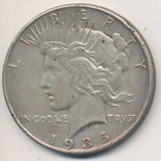 1935 Peace Silver Dollar - Final Year Minted Circulated Semikey Date photo