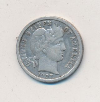1907 - O Barber Silver Dime Circulated Orleans Dime photo