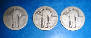 Three (3) Standing Liberty Quarters - No Visible Date photo