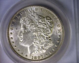 Anacs Au58 Blast White Top 100 Vam 6a 1897 Morgan Silver Dollar U.  S.  Coin photo