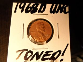 1968d Unc.  And Toned Lincoln Penny photo