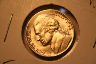 1943 Jefferson Steps Bu Nickel Coin 43p photo