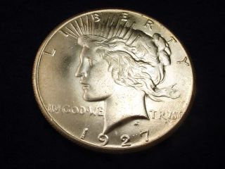 1927 Peace Dollar Incredible Gem Bu Coin 10 photo