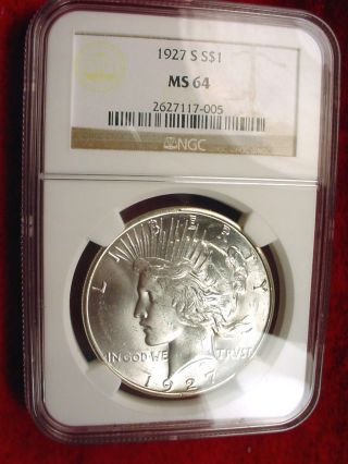 1927 - S Peace Dollar Fantastic Ngc Certified Ms - - 64 Key Date Dollar 97 photo