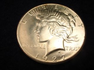 1927 Peace Dollar Fantastic Bu Coin 6 photo
