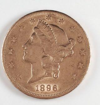 1896 S $20 Liberty Head Gold Double Eagle Twenty Dollar Coin San Francisco photo