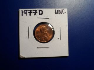 1977d Unc.  Lincoln Penny photo