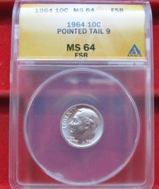 Rarest Production Roosevelt Dime Ever 1964 P Pointed Tail Dime Ms 64 Fsb Silver photo