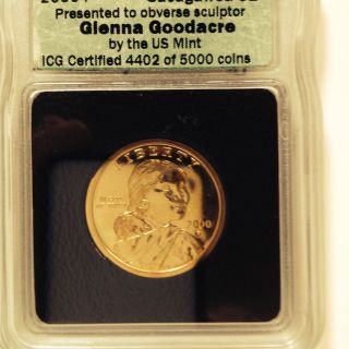 Presentation Sacagawea Dollar By Glenna Goodacre Signed In Slab photo