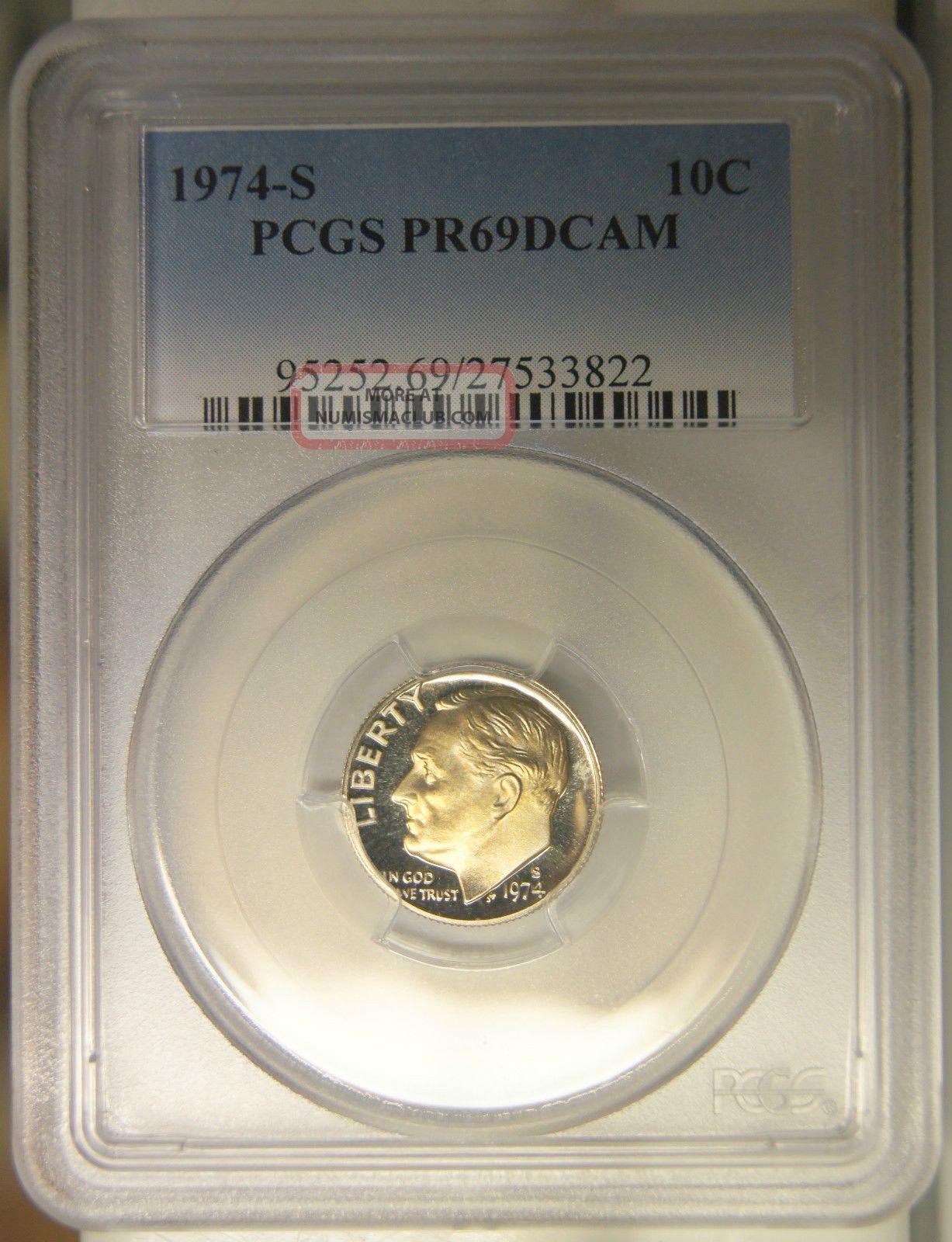 1974 - S 10 Cents Deep Cameo Proof Roosevelt Dime Pcgs Pr69 Dcam Dimes photo
