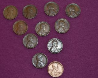 Wheat Pennies 1923s,  1927d,  1927s (2),  1928d (2),  1928s (3),  1929d,  1929s Key Da photo