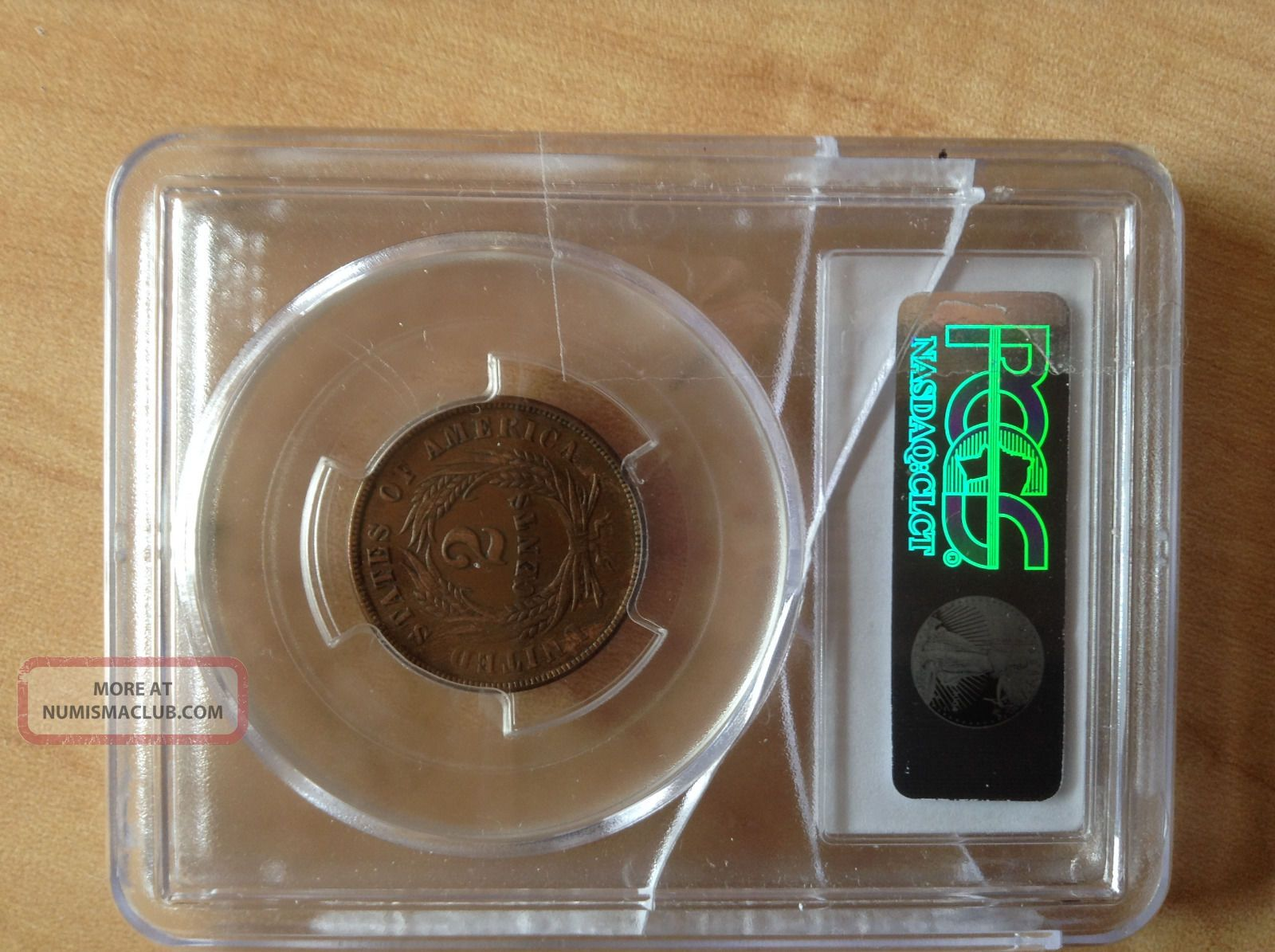 1865 2 Cent Pcgs Xf 45 Coins: US photo