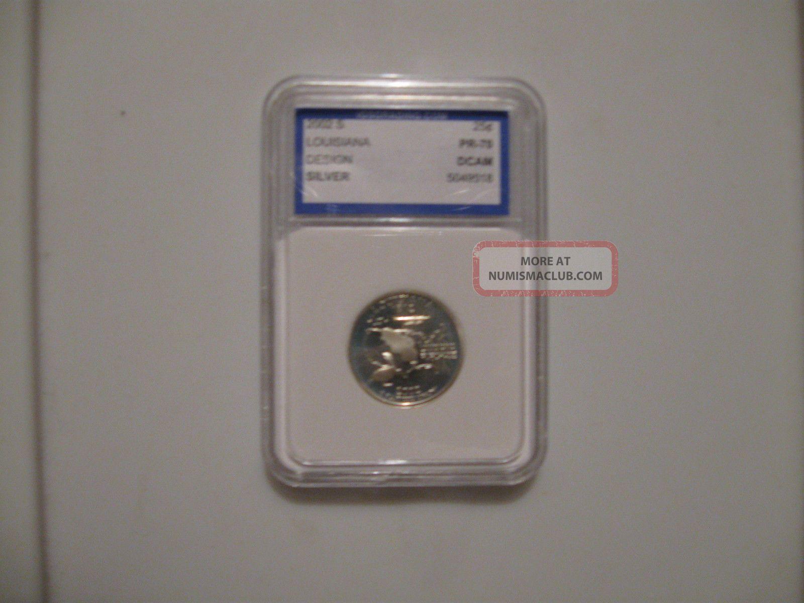 2002 - S Twenty - Five Cents Louisiana Silver Deep Cameo Proof Quarter Quarters photo
