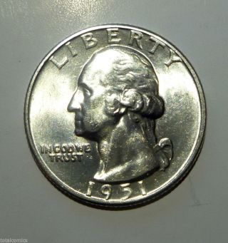 Washington Quarter 1951 D Gm Bu Brilliant photo