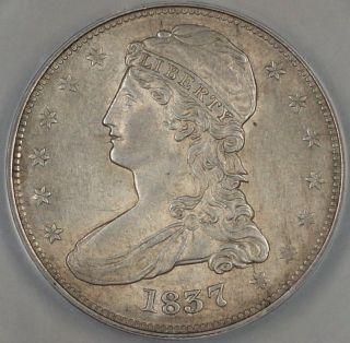 1837 Capped Bust Silver Half Dollar,  Reeded Edge,  Anacs Au - 58 Details,  Scratched photo